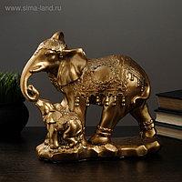 "Копилка ""Слон со слоненком"" стоя бронза 15х27см"