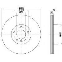 Тормозные диски Bmw X3 (E83) объем 2.0-3.0  (передние,Meyle, D325), фото 1