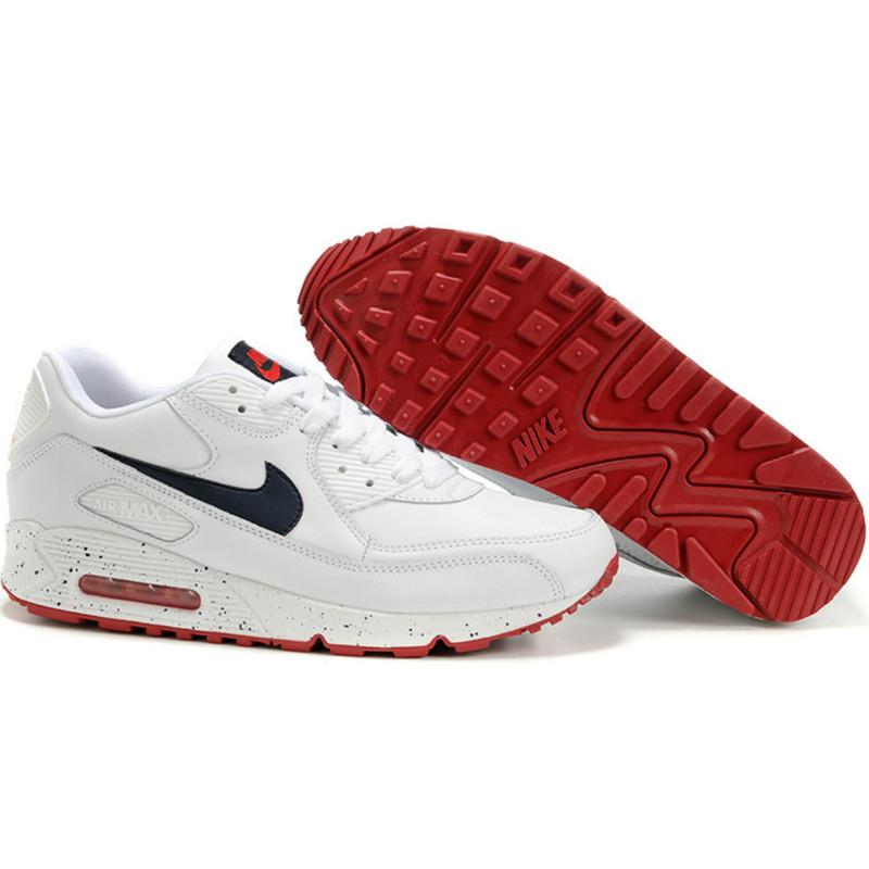 Кроссовки Nike Air Max 90 белые с красной подошвой