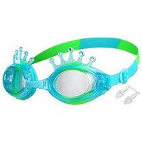 Очки для плавания 'Корона', детские, цвет салатово-голубой