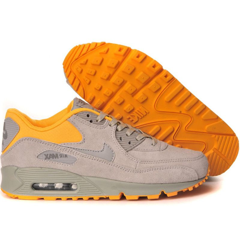 Nike Air Max 90 замшевые кроссовки серо-оранжевые