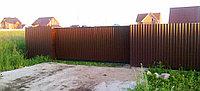Консольные откатные ворота из профнастила 3400х1800 коричневого цвета