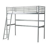 Кровать-чердак каркас СВЭРТА серебристый ИКЕА, IKEA, фото 1