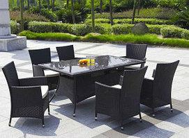 Стол прямоугольный с 6 креслами  (коричневый)