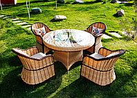 Плетеная мебель комплект Шанел. 4 стулья, круглый стол.