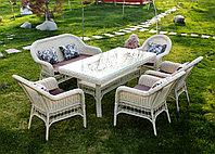 """Ротанговая мебель """"Комплект обеденный стол + кресла"""". Беловатый цвет."""