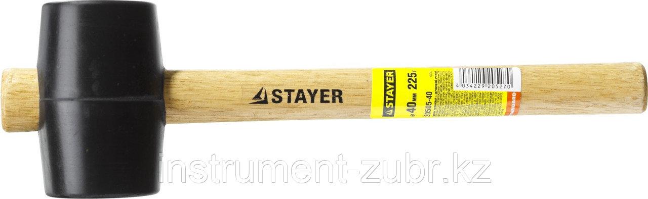 Киянка STAYER резиновая черная с деревянной ручкой, 225г