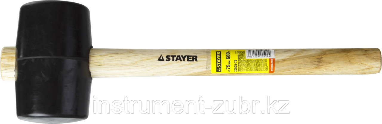 Киянка STAYER резиновая черная с деревянной ручкой, 680г