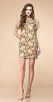 Платье Romanovich-1-1765, коричнево-золотые тона, 44