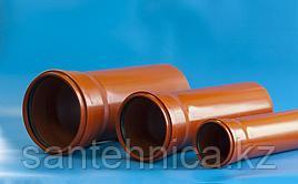 """Труба с раструбом канализационная оранж. ПП Дн 110*3,4 L=1м """"Политэк"""" наруж."""