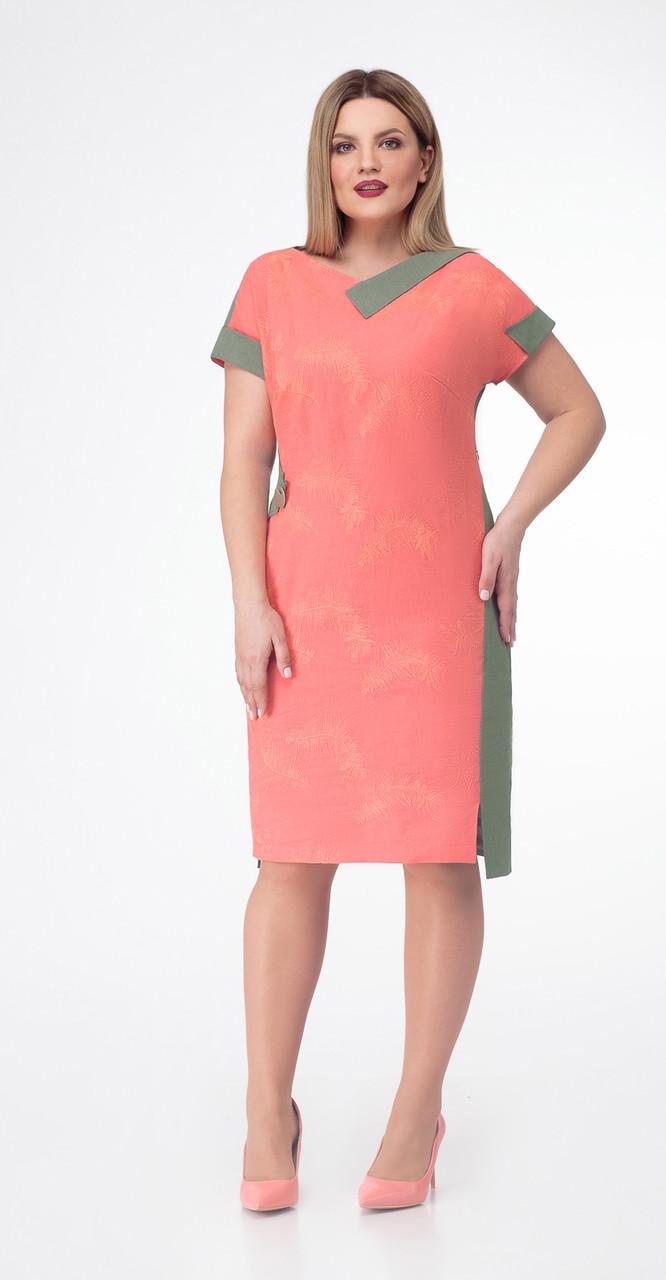 Платье КаринаДелюкс-в-129/1, коралл с зеленым, 50