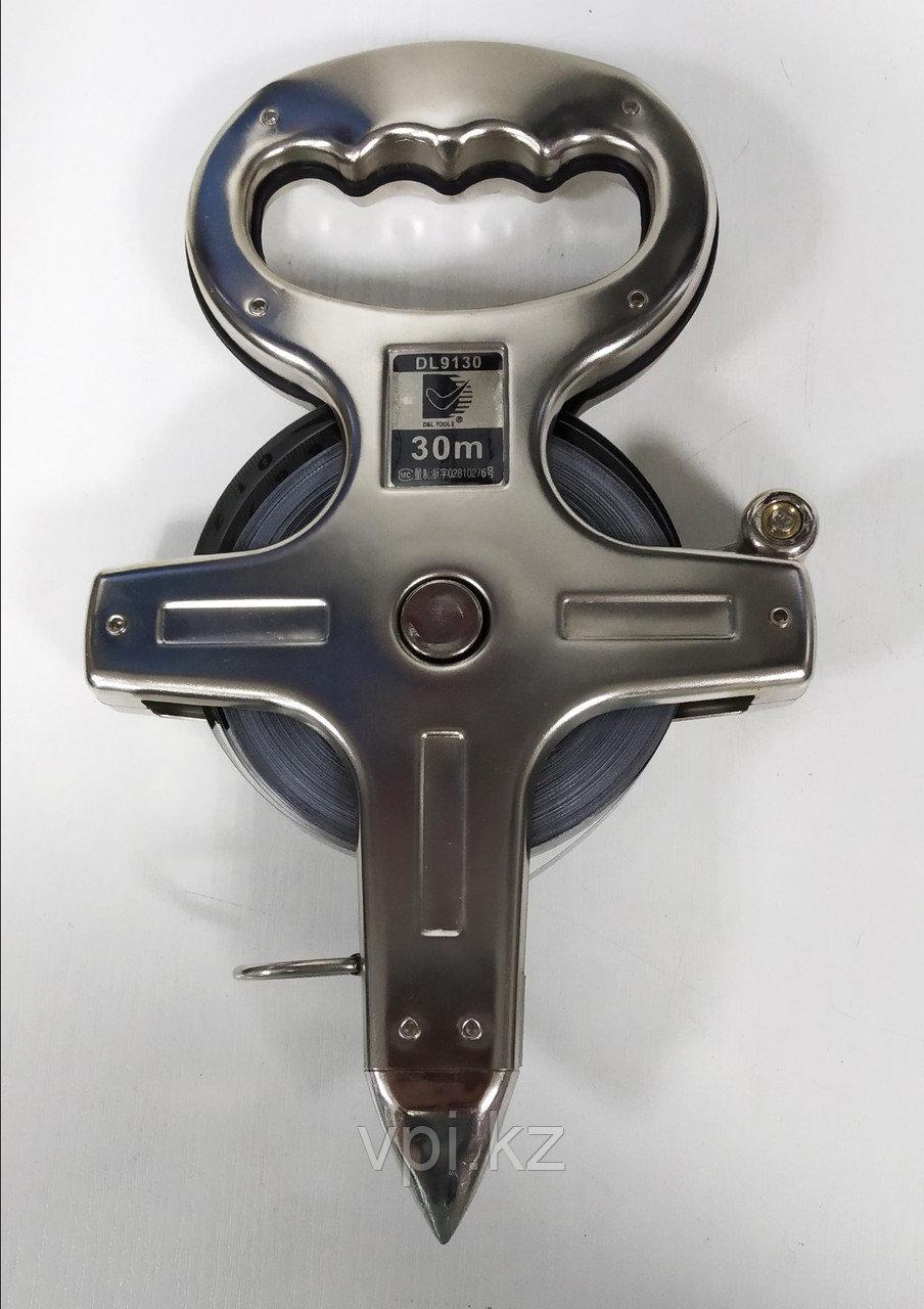 Рулетка геодезическая в металлическом корпусе 30м De&Li