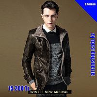 PU Кожаная куртка с толстым ворсистым подкладом цвета темный кофе, фото 1