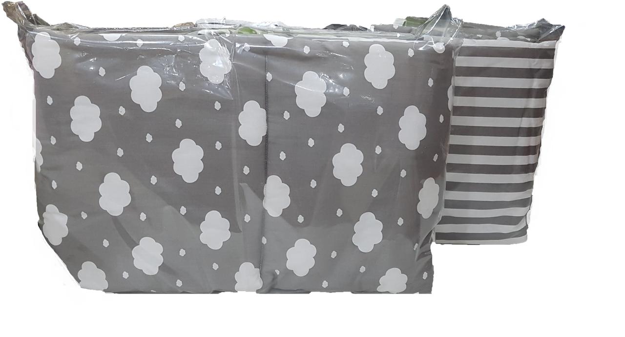Двухсторонние бортики в кроватку ILNUR Серый облако/ серый полоска