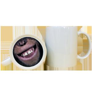 Кружка керамическая белая принт обезьяна