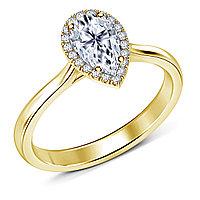 Золотое кольцо c центральным бриллиантом от 0,45Ct Огранка Капля , фото 1