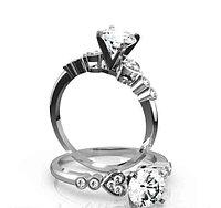 Золотое кольцо c центральным бриллиантом от 0,35Ct , фото 1