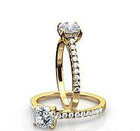 Золотое кольцо c центральным бриллиантом от 0,85Ct огранка Кушон , фото 1