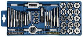 """Набор ЗУБР """"МАСТЕР"""" с металлореж. инструментом, метчики однопроходные и плашки М3-М12, 40 пред"""