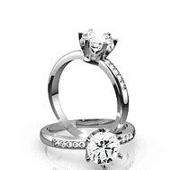Золотое кольцо c центральным бриллиантом от 0,50Ct, фото 1