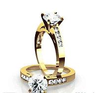 Золотое кольцо c центральным бриллиантом от 0,25Ct, фото 1