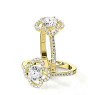 Золотое кольцо c центральным бриллиантом от 0,70Ct Огранка Кушон, фото 1