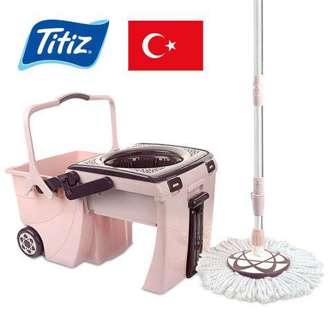 Ведро-трансформер с центрифугой на колесах + швабра с телескопической ручкой Titiz BienStar Mop Bucket Set