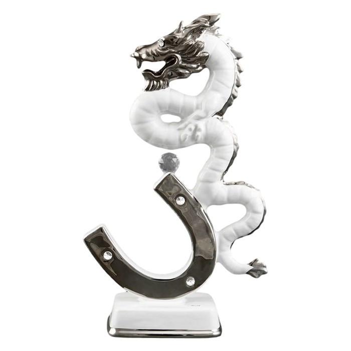 Статуэтка Дракон на подкове. Италия, ручная работа, кристаллы Swarovski