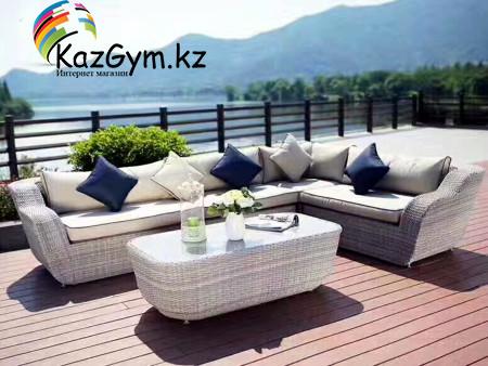 Угловой диван с кофейным столиком Relax (белый)