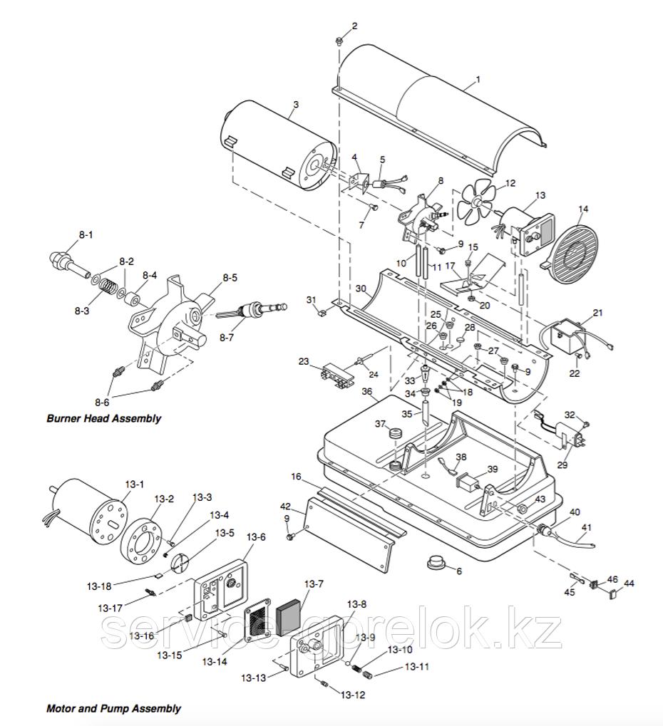 Запасные части к дизельной тепловой пушке MASTER B100CED - купить по низкой цене, доставка по всему Казахстану