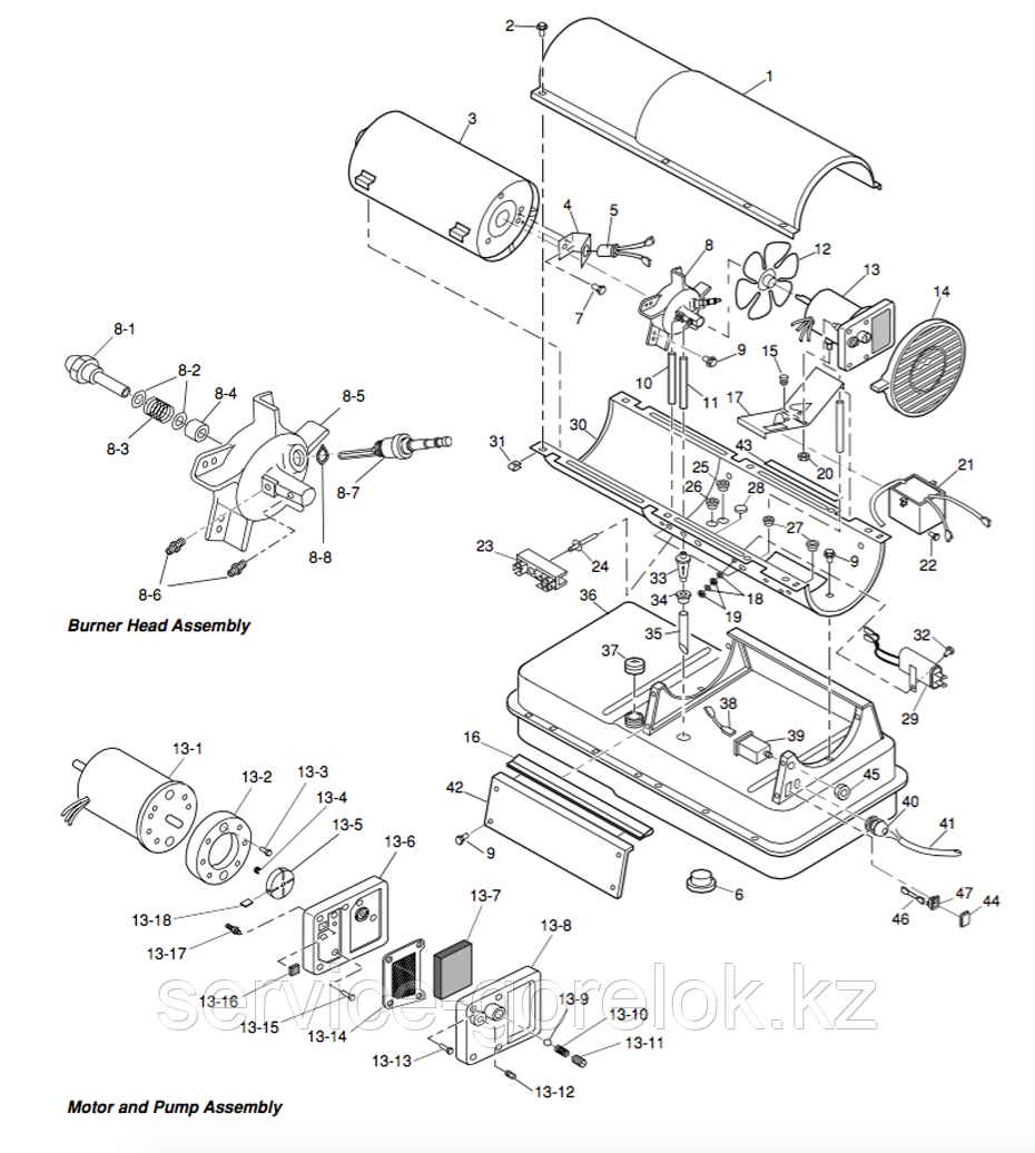 Запасные части к дизельной тепловой пушке MASTER B150CED - купить по низкой цене, доставка по всему Казахстану