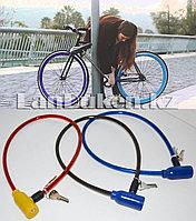 Велосипедный тросовый замок на ключе (длина 60см ) цвета в ассортименте