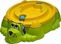 Песочница-бассейн - Собачка с крышкой (зелено, оранжевый)