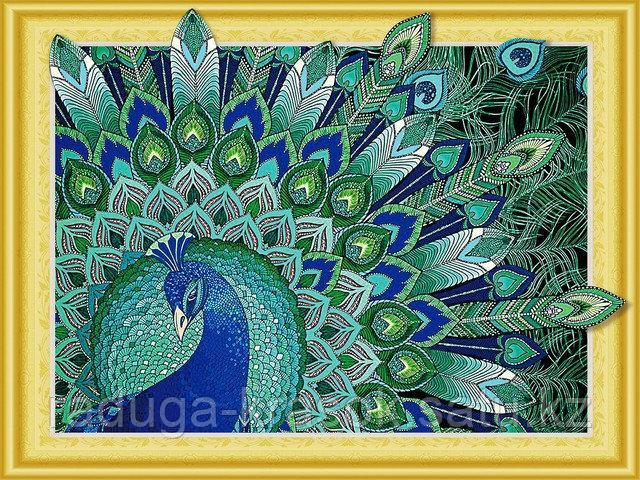 """Алмазная мозаика стразами Swarovski на подрамнике 5Д """"Гордый павлин"""" 40X50 см"""