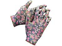 Перчатки садовые GRINDA, прозрачное нитриловое покрытие, размер S-M, черные