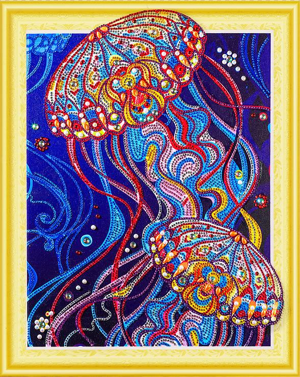 """Алмазная мозаика стразами Swarovski на подрамнике 5Д """"Медузы"""" 40X50 см"""