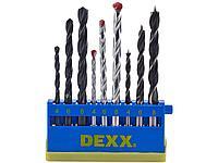 Набор DEXX: Сверла комбинированные, по металлу d=4-6-8мм, по дереву d= 4-6-8мм, по кирпичу d=4-6-8мм, 9