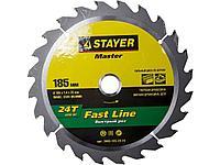 Пильный диск по дереву STAYER 3680-185-20-24, MASTER, FAST-Line, 185 x 20 мм, 24T