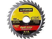 Пильный диск по дереву STAYER 3681-190-30-36, MASTER, OPTI-Line, 190 х 30 мм, 36Т
