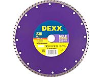Алмазный диск отрезной DEXX 36702-230_z01, ТУРБО, сегментированный, для УШМ, 230 х 7 х 22,2 мм
