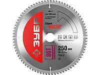 Пильный диск по дереву универсальный ЗУБР 36916-250-30-80, МАСТЕР, Точный-МУЛЬТИ рез, по алюминию, ламинату,