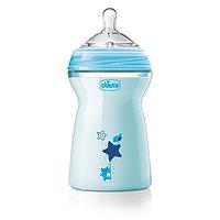 Бутылочка Chicco для кормления Natural Feeling силикон  330 ml 6м+, голубая