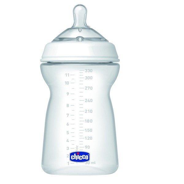 Бутылочка Chicco для кормления Natural Feeling силикон  330 мл, 6м+