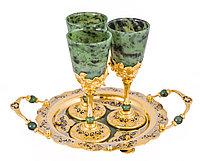 """Набор винный """"Очарование"""" (тарель, 2 фужера, камень нефрит) - Купить в Казахстане"""