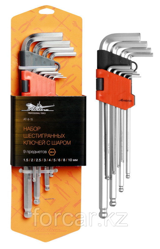 Набор шестигранных ключей удлинённых инбус с шаром 9 предметов (1.5,2,2.5,3,4,5,6,8,10мм) пласт.подв