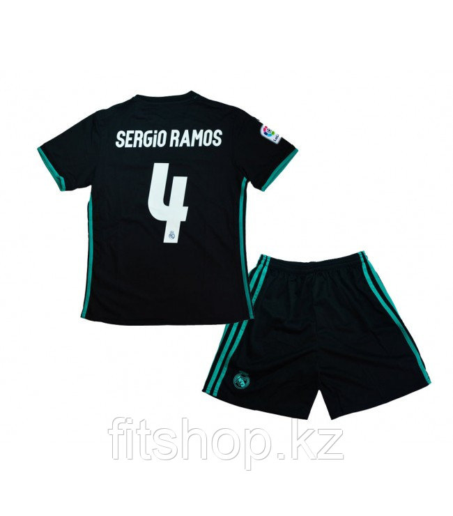 Детская  футбольная форма Реал Мадрид 2018-19 Sergio Ramos 4 ГОСТЕВАЯ