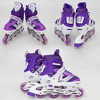 Роликовые коньки Power Superb размер 31-34 Фиолетовый, светящиеся колесо