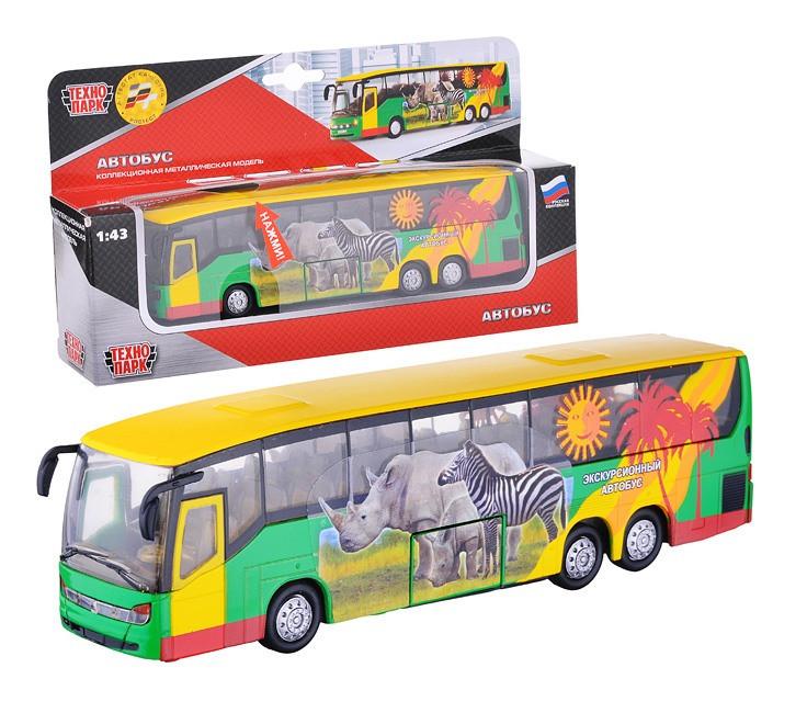 Технопарк Металлическая инерционная модель Автобус  (свет, звук)