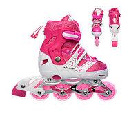 Роликовые коньки Power Superb размер 35-38 S Розовые, светящиеся колесо