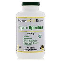 Спирулина. Органическая спирулина, 500 мг, 720 таблеток. Без ГМО. California Gold Nutrition Сертификация GMP.
